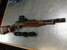 Custom short barrel Marlin Out fitted with Eotech and a Nikon Monarch scope. Shotguns, Firearms, Revolvers, Assault Weapon, Assault Rifle, Weapons Guns, Guns And Ammo, Survival Rifle, Lever Action Rifles