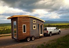 The Leaf House is a lightweight, mobile trailer that was carefully engineered to weigh less than 5,000 pounds. The designer, Laird Herbert, used a metal-mesh, open-joint rainscreen as the cladding on the front end, and spruce pine at the back.