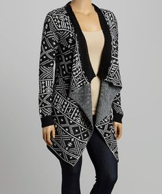 Another great find on #zulily! Black & White Tribal Open Cardigan - Plus #zulilyfinds