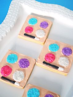 Makeup palette cookies for a bridal shower.