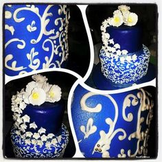 #weddingcake #simple #blue #pipping