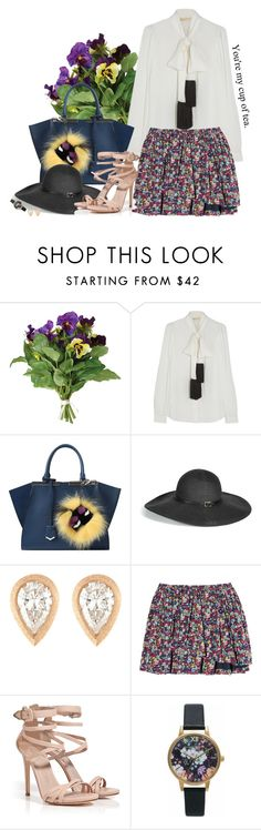"""""""You are my cup of tea."""" by gabyidc ❤ liked on Polyvore featuring OKA, MICHAEL Michael Kors, Fendi, Melissa Odabash, Malcolm Betts, Band of Outsiders, Le Silla and Olivia Burton"""