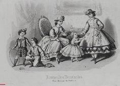 Fashion print with children ca 1860