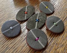 Ceramic button brooches
