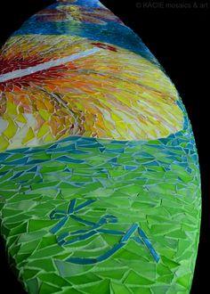 """Hanalei""  Stained glass mosaic on retired surfboard. ©KACIE mosaics & art."