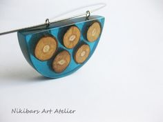 Wood Resin Blue Pendant Nacklace Modernist by NikibarsNatureArt
