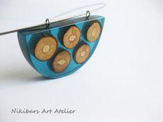 Wood Resin Blue Pendant Nacklace Modernist by NikibarsNatureArt