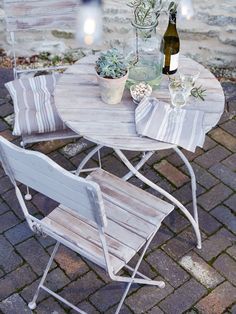 Natural Wooden Bistro Set - Outdoor Living Cox and Cox Outdoor Tables, Outdoor Spaces, Outdoor Living, Outdoor Decor, Outdoor Pool, Garden Furniture, Outdoor Furniture Sets, Diy Furniture, Modern Furniture