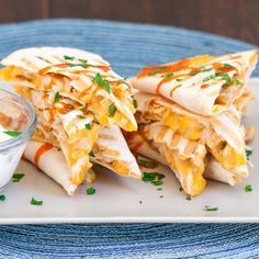 These Buffalo Chicken Quesadillas will give you the bold flavors of buffalo chicken wings with gooey melted cheese, all packed in a quesadilla! Jo Cooks, Food Porn, Weird Food, Buffalo Chicken, Meals For Two, I Love Food, Healthy Dinner Recipes, Stuffed Peppers, Eat