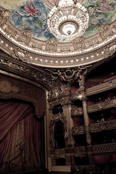 Opéra Garnier, Paris. In 1896, one of the counterweights for the grand chandelier fell, killing one. This, as well as the underground lake, cellars, and other elements of Opéra Garnier, inspired Gaston Leroux to write his classic Gothic novel in 1909, The Phantom of the Opera