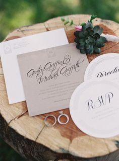 kraft paper #wedding #invitations   Photography by brettheidebrecht.com  Read more - http://www.stylemepretty.com/2013/08/16/texas-bb-wedding-from-brett-heidebrecht/