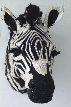 'taxidermy style' zebra head art by Donya Coward Textile Sculpture, Art Textile, Textile Artists, Soft Sculpture, Sculptures, Textile Design, Crochet Taxidermy, Faux Taxidermy, Crochet Art