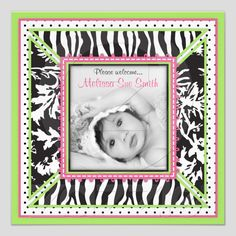 Boutique Chic Announcement Card_Cara from Zazzle.com
