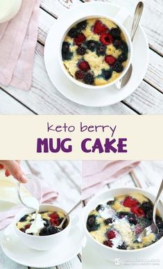 Keto Berry Mug Cake (low-carb, keto, paleo) I added 1 heaping tbsp shredded coconut and mixed up 1 oz cream cheese w/ vanilla stevia and lemon extract and added that to the mix b4 adding the fresh strawberries! YUM!
