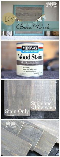 DIY BARN WOOD :: She stained a piece of scrap board with Minwax white tint base wood stain in Slate and realized it was a bit too dark for her liking so she mixed the stain with water which made a big difference. She let it dry over night and the ne Barn Wood Picture Frames, Picture On Wood, Big Picture Frame Ideas, Furniture Makeover, Diy Furniture, Woodworking Furniture, Woodworking Projects, Building Furniture, Woodworking Videos