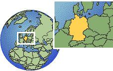 Germany time zone location map borders