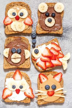 Make animal faces toast that will make your kids smile. Such a fun way to surprise them at breakfast or snack time!
