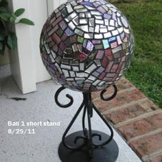 Old bowling ball, add mosaic glass and use an upside down  candle holder as a stand. Great ideas, great projects from our members on this thread.