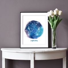 Easily add the constellations to any home decor with this printable zodiac sign. Just download and print.  #capricorn #zodiacsigns #constellations #affordableart #downloadable Libra Art, Zodiac Art, Libra Constellation, Zodiac Constellations, Zodiac Signs Astrology, Zodiac Capricorn, Blue Bedroom Decor, Printable Star, Affordable Art
