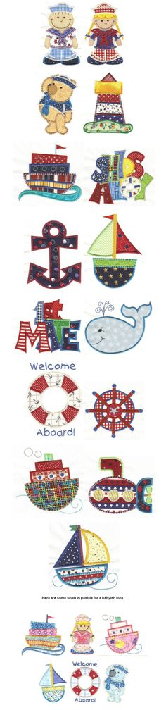 Ships Ahoy Applique Maching Embroidery designs collection..just one of our many summer applique design sets