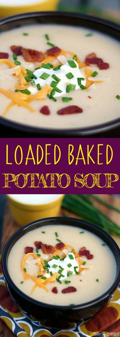 Loaded Baked Potato Soup - the secret to this flavorful potato soup is simmering the potatoes in chicken broth and a small amount of reserved bacon drippings. Warm your winter with this easy soup recipe. For more easy food recipes, creative craft ideas, easy home decor and DIY projects, check us out at #no2pencil. #food #souprecipes #recipeoftheday #recipeideas