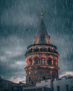 The Galata Tower (Galata Kulesi in Turkish) In a rainy day // by ilkin karacan karakuş (ilkinkaracan) • Instagram photo    #galatatower #rainyday #istanbul #turkey