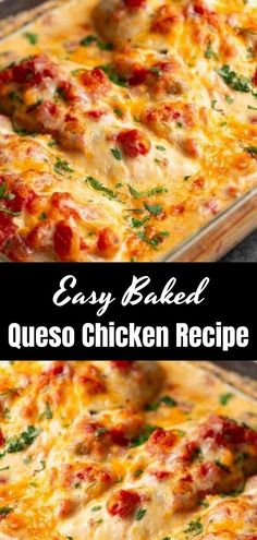 Recipes Easy Baked Queso Chicken will be your new favorite weeknight meal! It's not only QUICK and EASY, but delicious. With just a few ingredients and a special tip, you will have moist and tender chicken on the table with almost no effort. Chicken Queso Recipe, Quick Chicken Recipes, Turkey Recipes, Quick Chicken Dishes, Baked Dinner Recipes, Easy Baked Chicken, Pork Recipes, Def Not, Cooking Recipes