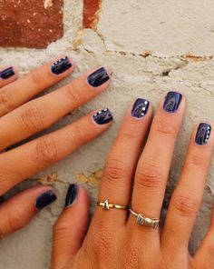 Love the white dots on navy blue!I just did this with pink white and lilac :)