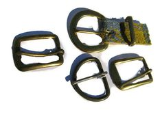 four vintage metal buckles for belts by mudintheUSA on Etsy