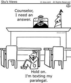Can I phone a friend (my paralegal)? This seems to be an everyday occurrence. What would we do with out the paralegals?