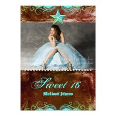 Western Sweet 16 Invitation Blue Brown Star