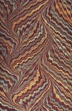 Waved comb pattern, in a book bound in Paris, 1924. Bird Library, Syracuse University
