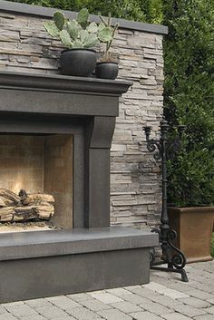 stone & concrete fireplace - fabulous