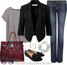 """""""Black Blazer with Jeans"""" by fiftynotfrumpy ❤ liked on Polyvore"""