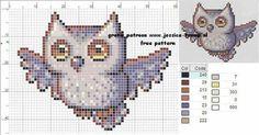 Cross stitch owl in flight Cross Stitch Owl, Just Cross Stitch, Beaded Cross Stitch, Cross Stitch Borders, Cross Stitch Animals, Cross Stitch Charts, Counted Cross Stitch Patterns, Cross Stitch Designs, Cross Stitching