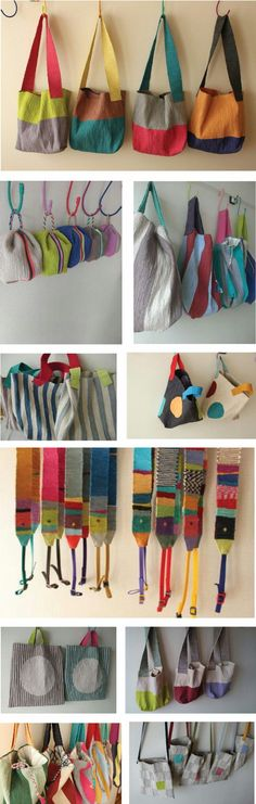 Artisan Akiko Iwamoto learned textile dyed silk weaving at the Muse…Beautiful collection of handmade bags♥ the ones with white circles ♥ woven strapsIdeas and Influences Fabric Crafts, Sewing Crafts, Sewing Projects, Craft Bags, Diy Bags, Linen Bag, Patchwork Bags, Fabric Bags, Cotton Bag