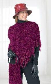 Follow this free knit or crochet pattern to create a capelet using Bernat Boa eyelash yarn.