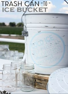 Made From Pinterest & Bakerette Link Party Favorites! DIY Trash can to Ice Bucket from The Wood Grain Cottage