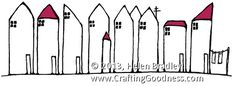 row houses1 How to draw   a row house drawing exercise...embroidery inspiration