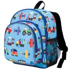 Wildkin Olive Kids Trains-Planes & Trucks Pack 'n Snack Kids Backpack - Blue Trains/Planes Preschool Backpack, Toddler Backpack, Toddler Luggage, Backpacking Training, Backpacking Hammock, Blue Train, Boys Backpacks, School Backpacks, Toddler Boys