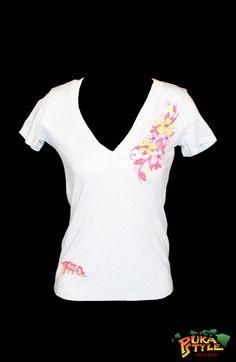 Womens Vintage White Tri-Blend Short Sleeve
