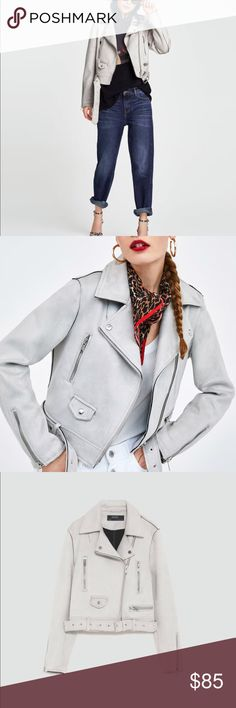 Zara Women Faux suede biker jacket Today you can spunk your individuality, throw on a dress some kissable red lipstick and this Zara Faux suede biker jacket.  Check out the lapel collar, long sleeves, front zip pockets and a snap-button pocket detail. Around the waist belt with metal buckle on the hem and a zip-up front. The color is just a MUST HAVE! Zara Jackets & Coats