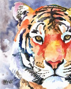 Tiger Art Print of Original Watercolor Painting - Signed by Artist About the Print: This Lion open edition art print is from an original Art Watercolor, Watercolor Animals, Art Tigre, Tiger Art, Tiger Head, Animal Paintings, Love Art, Cat Art, Painting & Drawing