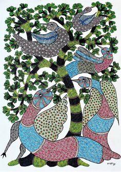 Original hand made gond painting showcasing birds and trees. Gond Painting, Original Artwork, Original Paintings, Indian Folk Art, Indian Art Paintings, Online Painting, Aboriginal Art, Minimalist Art, Acrylic Art