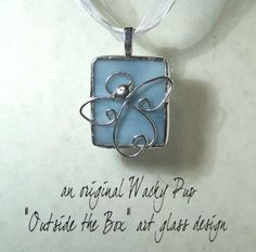 NEW for Spring - Soldered Angel Pendant on Blue Tiffany Stained Art Glass Christian Necklace Outside the Box Design Artisan Charm