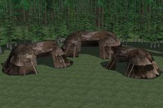 I saw these tents and thought how much they looked like something a cave person would make.  These are actually Skyrim conversions, but they could work for ice age people too.