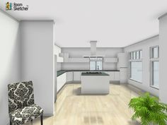 This is a real life Real Estate Agency office meeting room kitchen! What does it need next??   Real Estate professionals & Home Stagers love RoomSketcher! http://www.roomsketcher.com/features/homedesigner/  3D floor plan for a workplace break room kitchen with hardwood flooring, large windows & traditional decor designed in RoomSketcher Business Edition by innernode