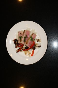 grilled tuna and vegetables with oregano sauce