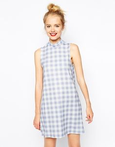 Buy ASOS Shift Dress in Textured Gingham Print with High Neck at ASOS. With free delivery and return options (Ts&Cs apply), online shopping has never been so easy. Get the latest trends with ASOS now. Asos Dress, Bodycon Dress, High Neckline Dress, Casual Elegance, Simple Outfits, Beautiful Outfits, Beautiful Clothes, Summer Dresses, Shift Dresses