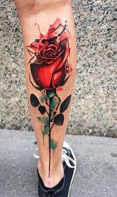 Leg tattoo, watercolor, rose..artist unknown